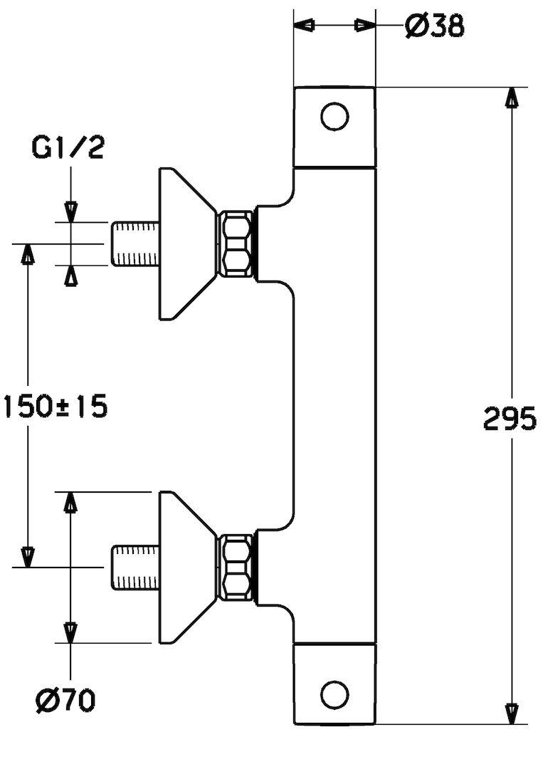 HANSAUNITA Thermostat-Brausebatterie mit Brausegarnitur 48130131